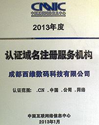 CNNIC 2013年度认证w88优德服务机构